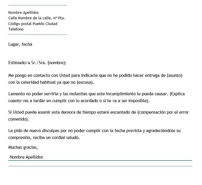 Ejemplo de carta de disculpa por incumplimiento