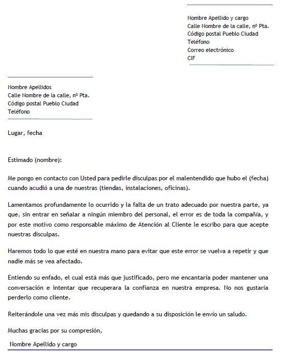 Ejemplo de carta de disculpa por mal servicio Carta de disculpa