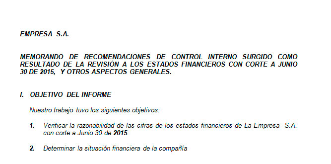 Ejemplo de informe financiero Modelo de informe financiero