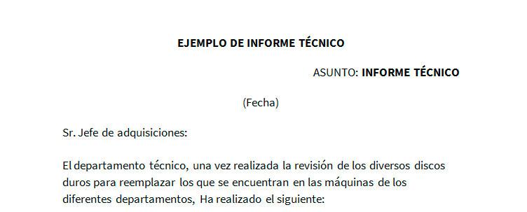 Ejemplo de informe técnico Modelo de informe técnico