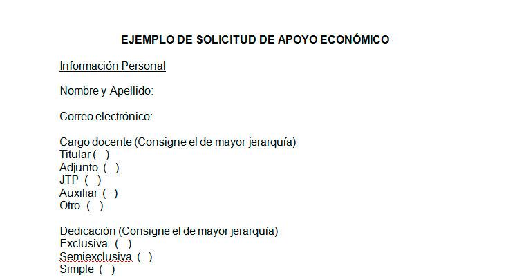Ejemplo de solicitud de apoyo económico Modelo de solicitud