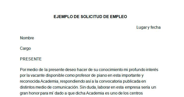 Ejemplo de solicitud de empleo Modelo de solicitud de empleo