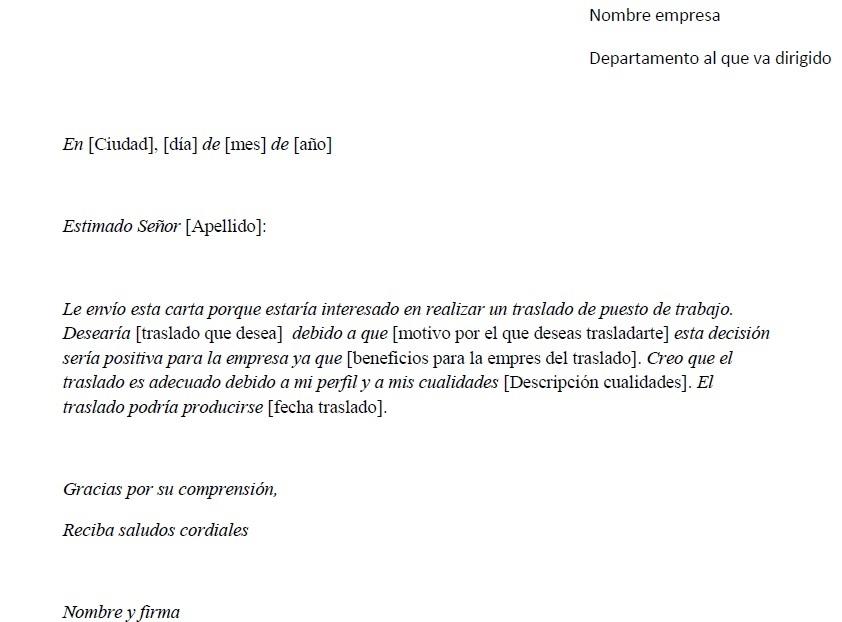 Ejemplo de carta de solicitud de traslado Pedir traslado laboral