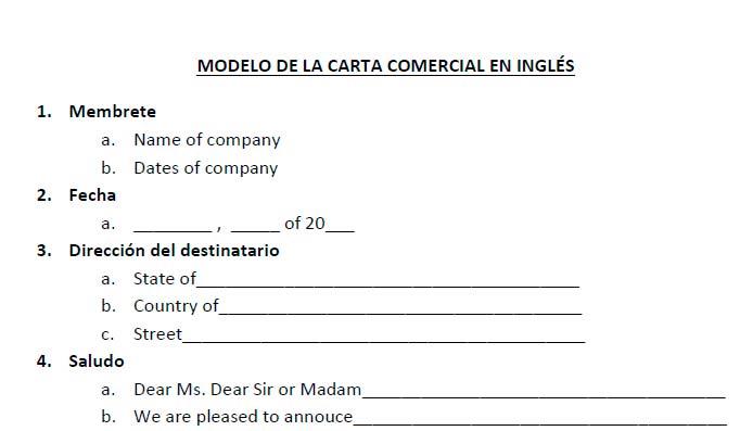 La carta comercial en inglés Modelo de carta comercial