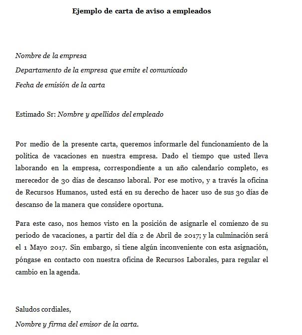 Ejemplo de carta de aviso a empleados Modelos de cartas de aviso