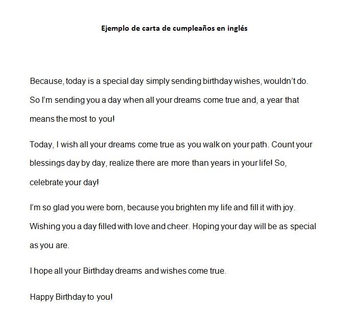 Ejemplo de carta de cumpleaños en inglés Modelo de carta de