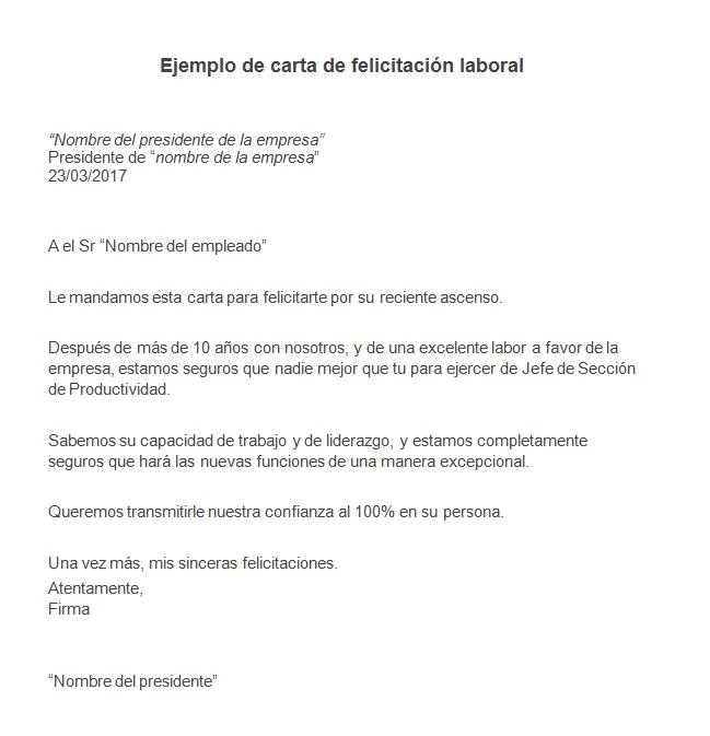 Ejemplo de carta de felicitación laboral Modelo de carta de