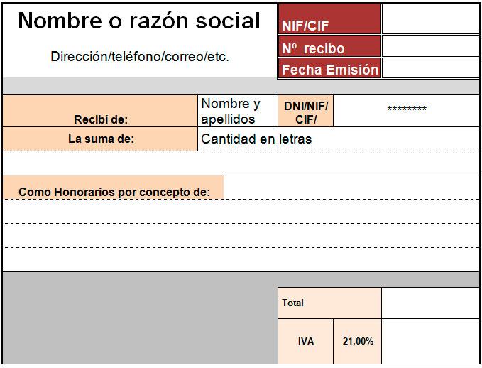 Plantilla de recibo para Excel Modelo Plantilla