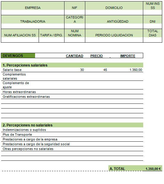 Ejemplo de recibo de sueldo Modelo Plantilla