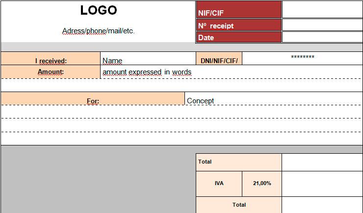 Modelo de recibo en inglés Ejemplos y plantillas de recibos