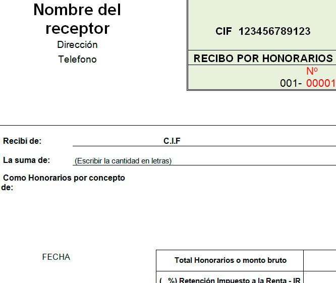 Modelo de recibo por honorarios Modelo Plantilla