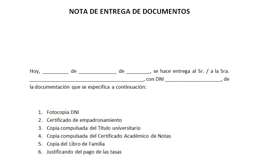 Ejemplo de nota de entrega de documentos Notas de entrega
