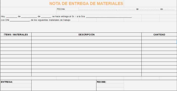 Ejemplo de nota de entrega de materiales Notas de entrega - formato nota de credito