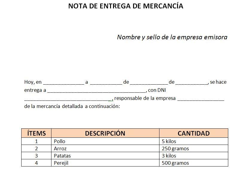 Ejemplo de nota de entrega de mercancía Notas de entrega - formato nota de credito
