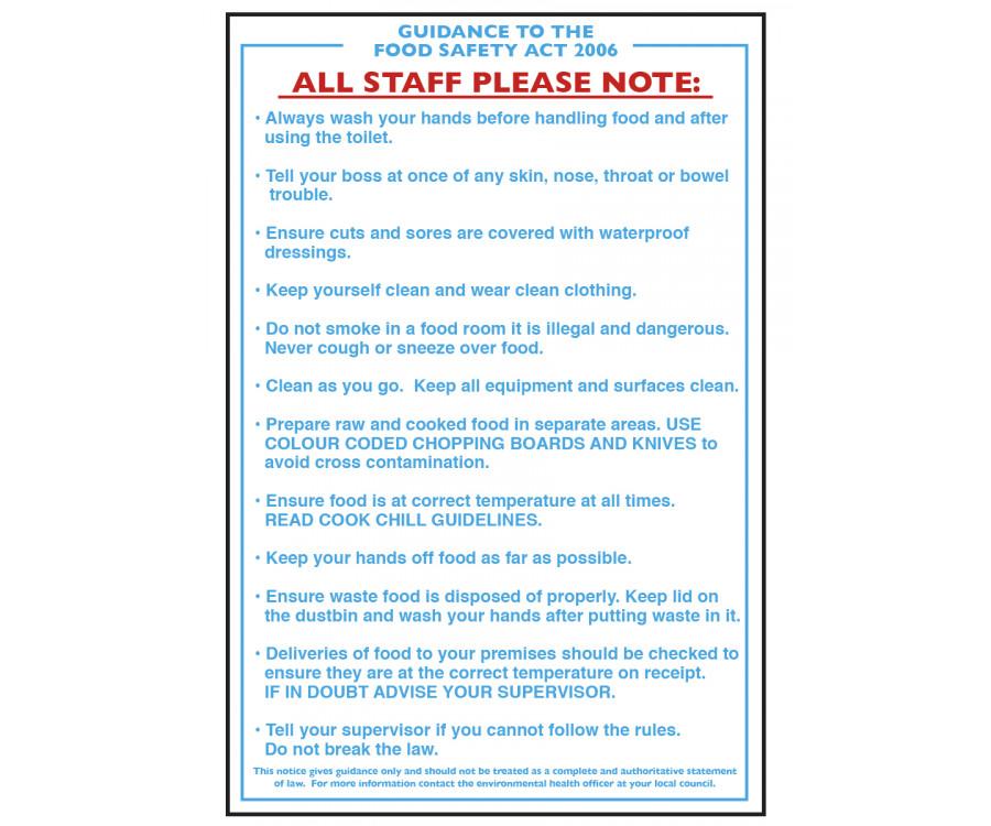 Food Safety Guidance Act Notice - CS002 - Staff Hygiene  Wash Hands