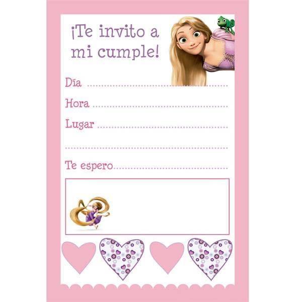 Invitaciones de enredados o Rapunzel para imprimir gratis