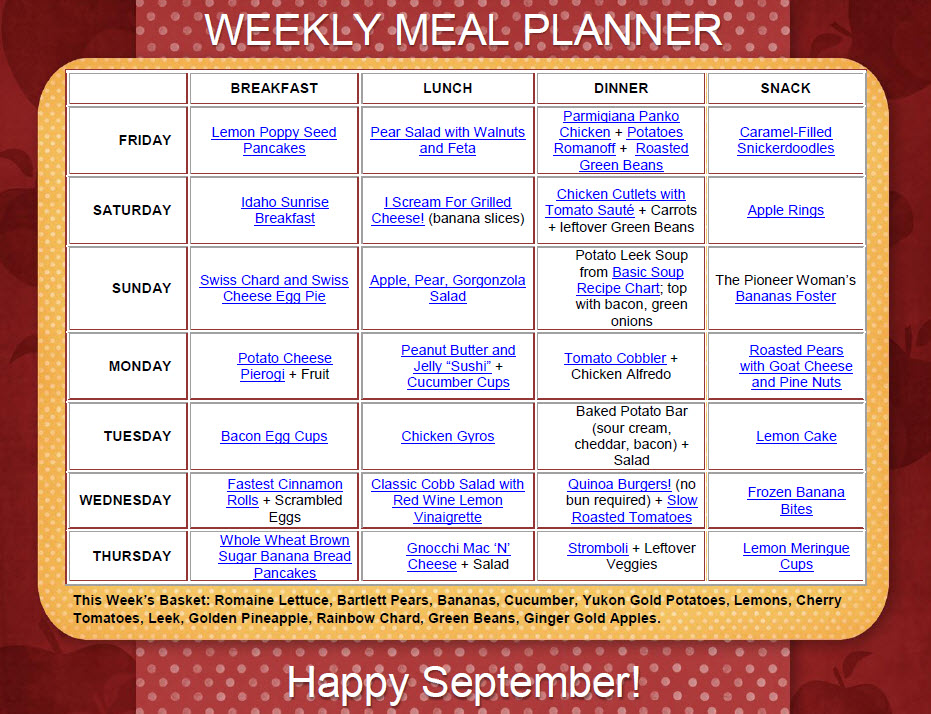 This Week\u0027s Meal Plan \u2013 The Beehive Buzz - how to plan weekly meals for two