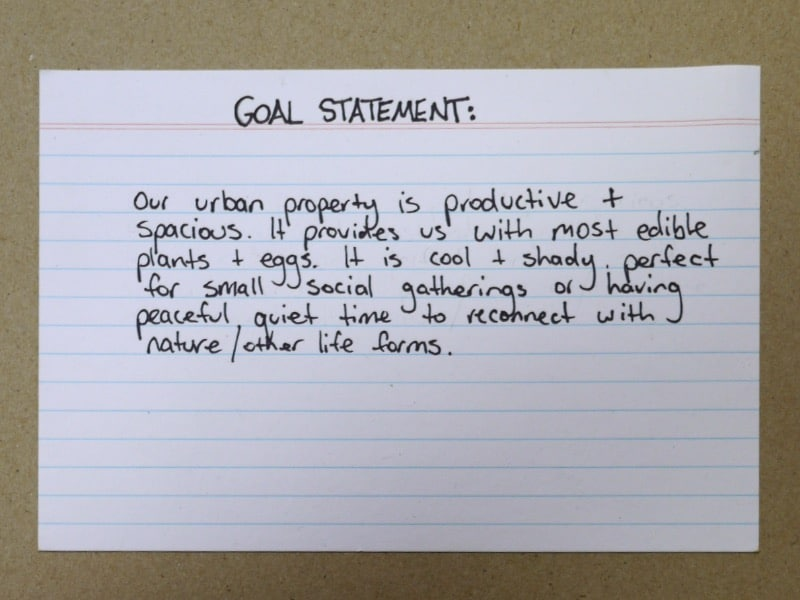 Permaculture Design Process 1 Writing a Goal Statement