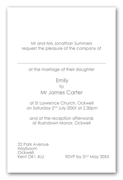 Wedding Invitation Wording Brides Parents As Hosts Day