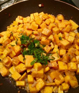 Add the squash and chopped parsley.  Season with salt, pepper and pinch of nutmeg, then deglaze with white wine.