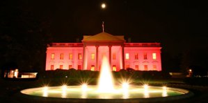 The White House, lit with pink flood lights for Breast Cancer Awareness Month (C) US Government [Public Domain] via Wikimedia Commons