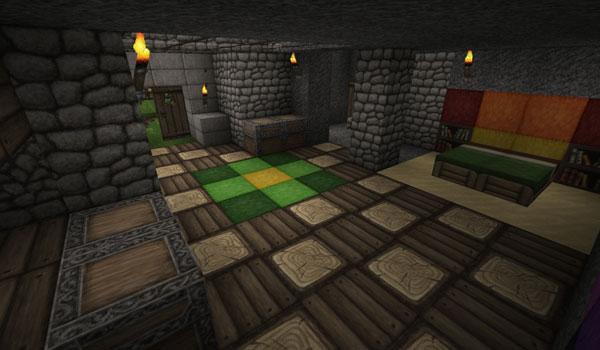 interior de una casa, decorada con las texturas, ovo's rustic 1.10 y 1.9.