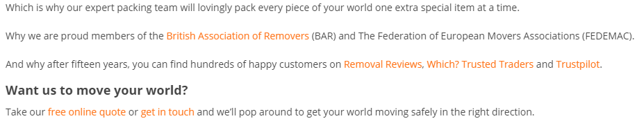 City Removals References