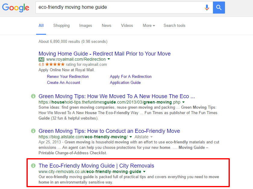 Google search eco friendly moving home guide