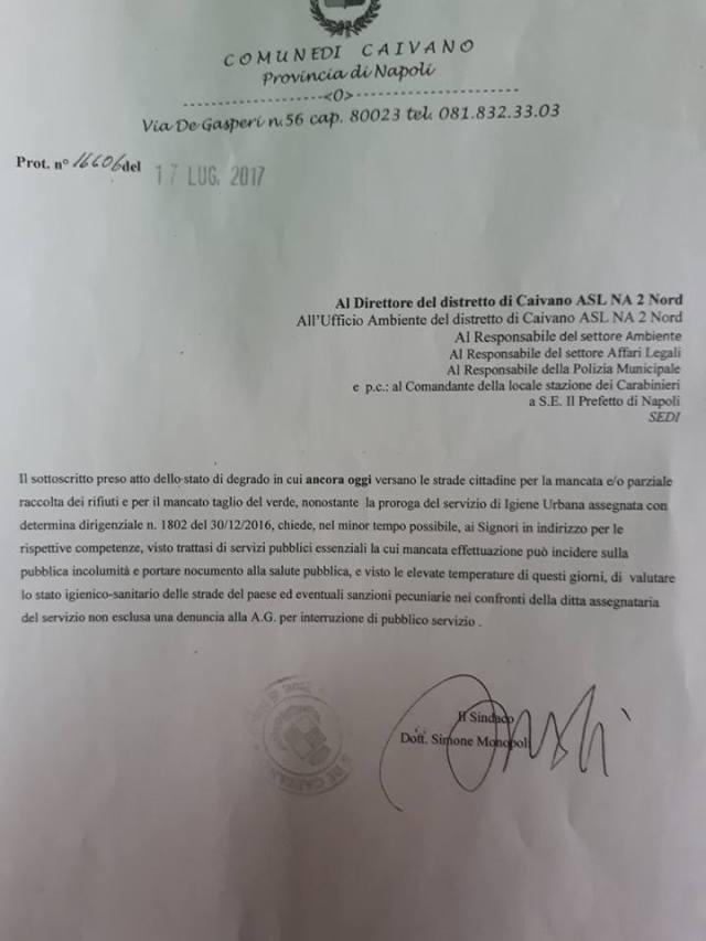 Il documento protocollato da Simone Monopoli