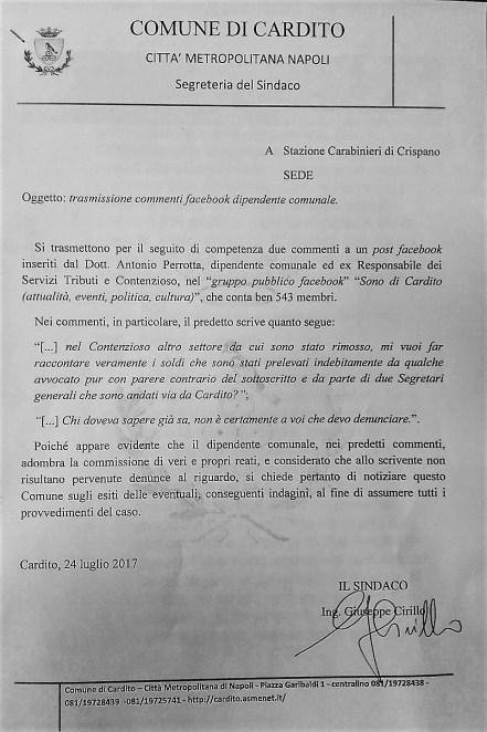 Nota inviata ai Carabinieri dal Sindaco