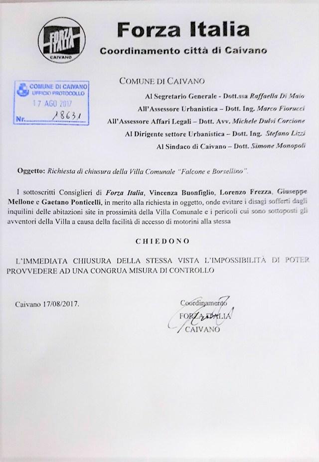 Istanza presentata dai consiglieri dissidenti di Forza Italia