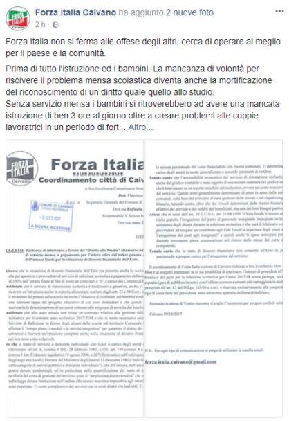 Il post pubblicato sull fanpage di Forza Italia Caivano