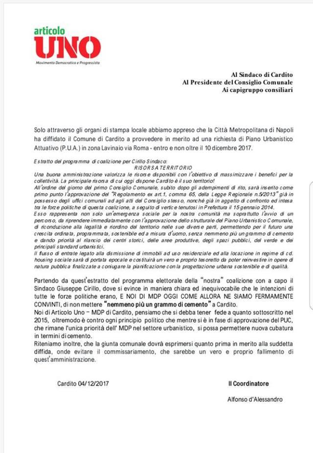 Lettera scritta da Articolo1 MdP di Cardito