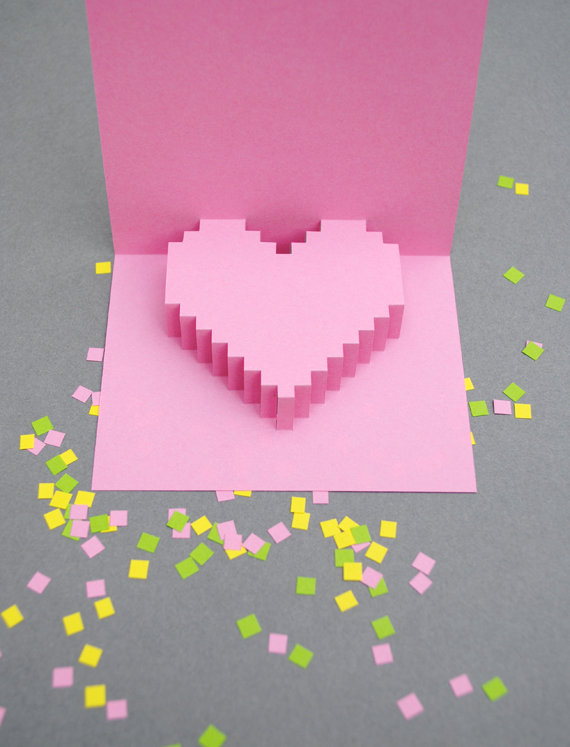 Valentines day} pixelated popup card MINI ECO