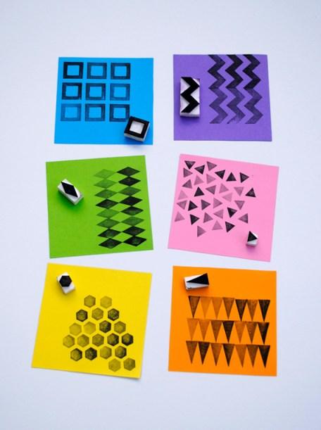Handmade geometric stamps