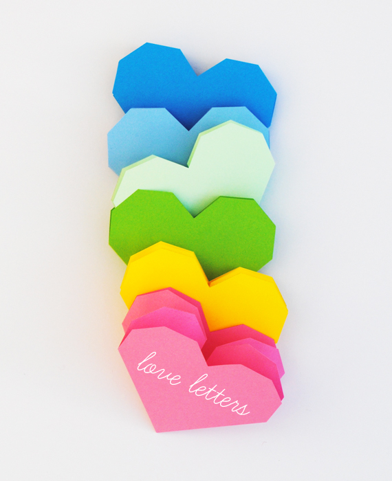 geometric heart love letters   popup card MINI ECO