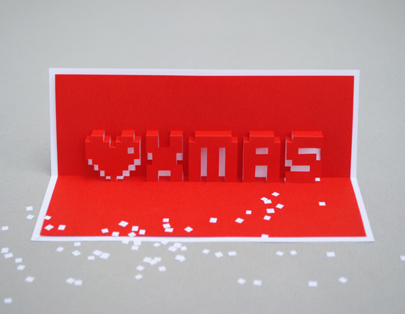 Christmas pixel popup cards MINI ECO