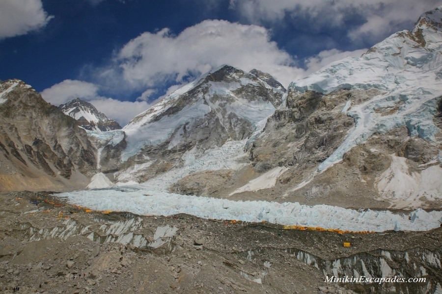 Khumbu ice fall and Mt Everest abse camp