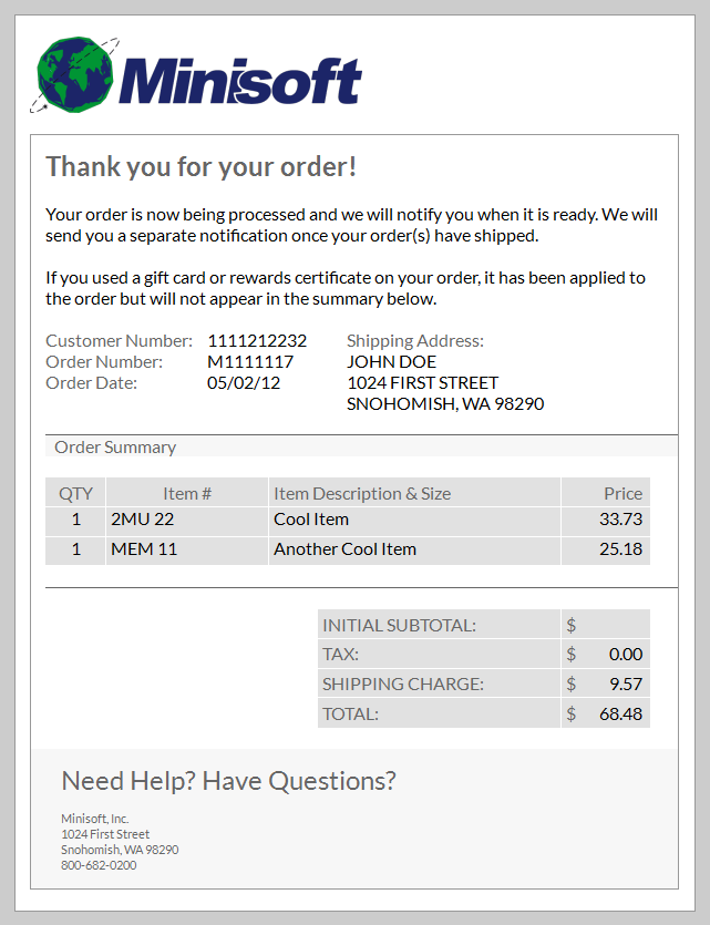 shipping confirmation template