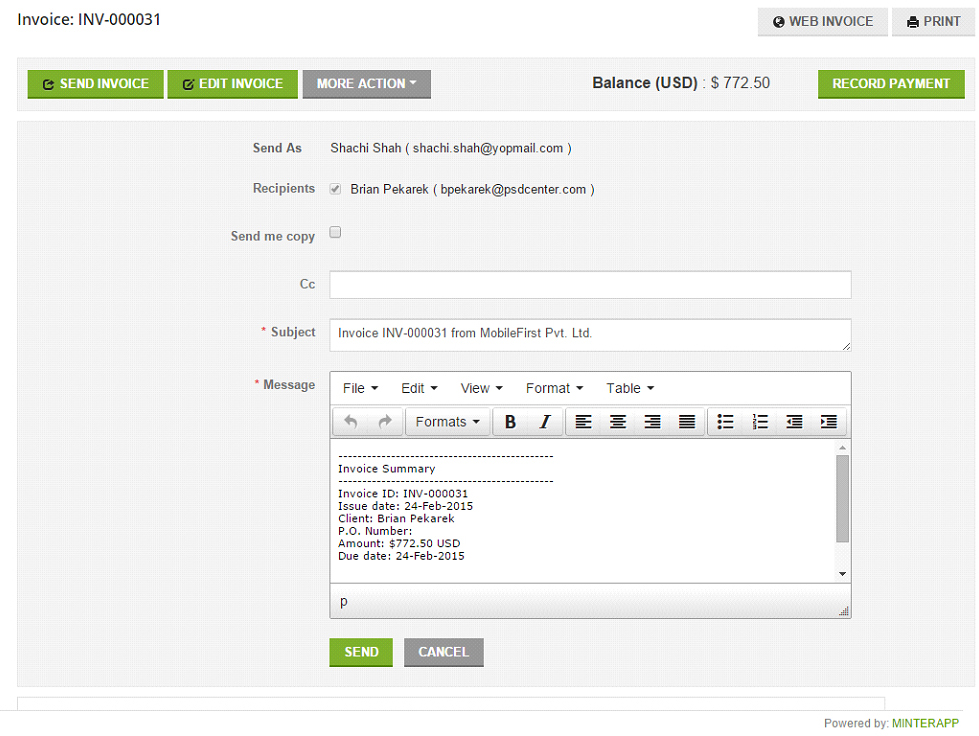 Send invoice online - Free Online Time Tracking and Invoicing Tool