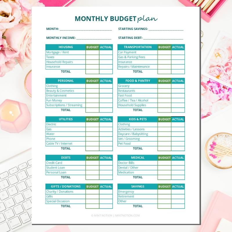 2019 Budget Binder Printables - Mint Notion