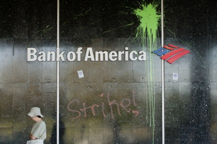 Damage to the front of the Bank of America