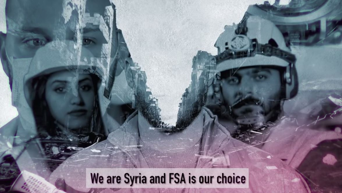 "Screenshot from video (below) showing the White Helmets clearly affiliating themselves with the mythical ""moderate"" FSA (Free Syrian Army) that co-exists with Nusra Front and a variety of extremist groups."