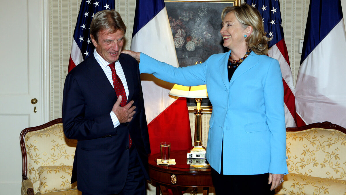 U.S. Secretary of State Hillary Clinton meets with Bernard Kouchner at the Waldorf Astoria Hotel in New York, Sept. 27, 2010 David Karp | AP