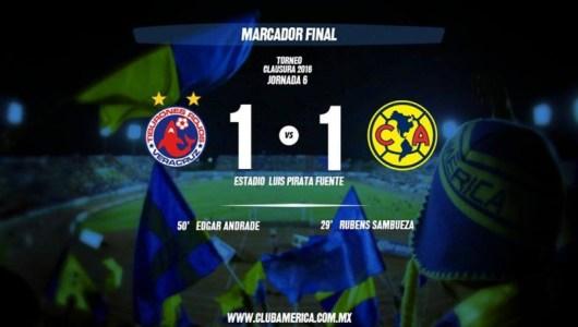 Con 10 jugadores Veracruz empata, América 1-1 Veracruz.