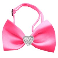 Clear Crystal Heart Hot Pink Bow Tie