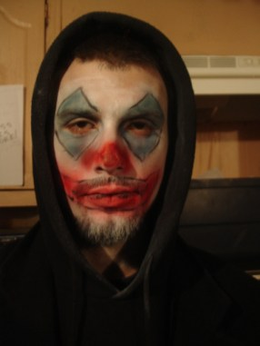 sfx makeup, special effects make up, horror, clown, evil clown, air brush, scary clown make up