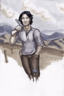 Gale Hawthorne, hunger games, copic marker drawing, mountains