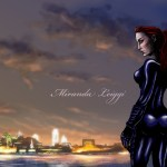 comic, original character, philadelphia skyline, dusk, cat suit, red hair