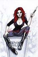 red hair, copic marker drawing, wooden stake, vampire hunter, edward cullen, knee high boots, grave, tombstone, twilight